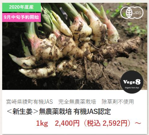 無農薬新生姜 vege8