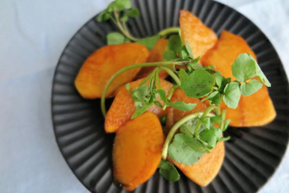 柿とクレソンのサラダ vege8